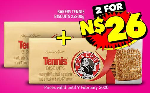 BAKERS TENNIS BISCUITS 2x200G, 2 FOR 26