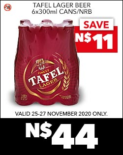 TAFEL LAGER BEER 6x300ml CANS/NRB, N$44
