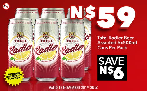 TAFEL RADLER BEER ASSORTED 6x500ml CANS PER PACK, N$59