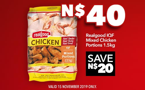 REALGOOD IQF MIXED CHICKEN PORTIONS 1.5kg, N$40