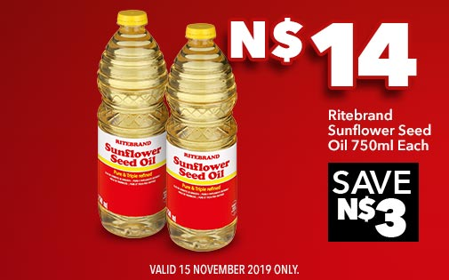 RITEBRAND SUNFLOWER SEED OIL 750ml EACH, N$14
