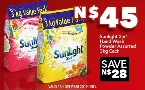 SUNLIGHT 2in1 HAND WASH POWDER ASSORTED 3kg EACH, N$45